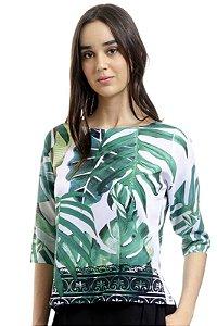 Blusa Tunica Crepe Estampada Folhagem Verde