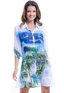 Vestido Chemise  Evase com Babados Crepe Estampado Paisagem Azul