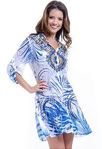 Vestido Chemise Babados Mangas 3/4 em Crepe Estampado Joias Folhagem Azul Branco