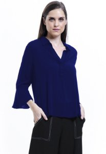 Camisa Lisa Viscose Polo Mangas Flare 34 Azul Royal