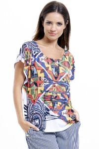 Blusa Tunica Careca Malha Fria Estampada Tribal Multicolorida