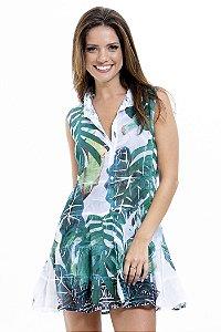 Vestido Chemise Curto Evasê Crepe Babados Renda Pala Estampado Folhagem Verde