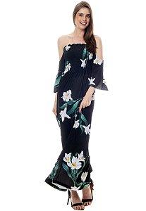 Vestido Longo Cigana Lastex Mangas 3/4 Jersey Estampado Floral Preto Verde