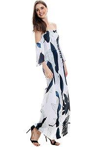 Vestido Longo Cigana Lastex Mangas 3/4 Jersey Estampado Folhagem Branco Azul