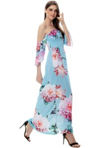 Vestido Longo Cigana Lastex Mangas 3/4 Jersey Estampado Floral Azul Rosa