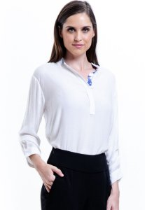 Camisa Viscose Lisa Polo Branco Off