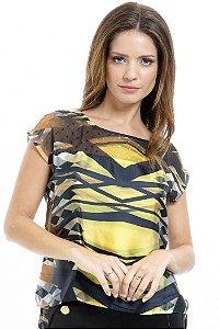 Blusa Tunica Cetim Animal Print Amarelo Preto