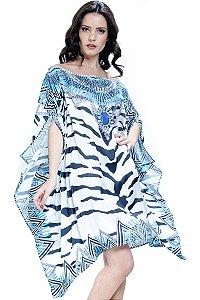 Kaftan Vestido Ombro a Ombro Crepe Animal Print Zebra Joias Preto Azul Branco