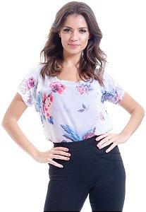 Blusa Crepe Estampado Floral Vintage Detalhe Renda Branco Rosa