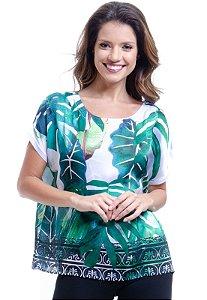 Blusa tipo T Shirt Ampla Decote Careca Cetim Estampado Folhagem Verde