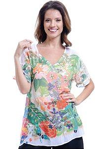 Blusa Decote V Crepe Estampado Flores e Folhas Verde Laranja