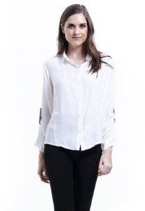 Camisa Viscose Com Reguladores Branca Off