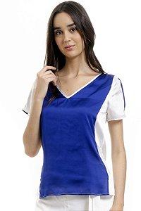 Blusa Tunica Decote V Cetim Bicolor Azul Off