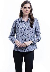Camisa Algodao Estampada Floral Azul
