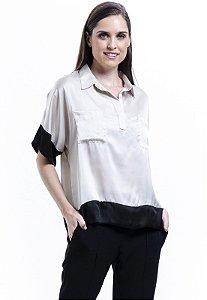 Camisa Polo Bicolor Bege Preto