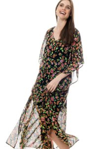 Vestido Kaftan Longo Crepe Estampado Flor Rosa Fundo Preto