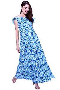 Vestido Longo Cigana Ombro a Ombro Saia Babados Viscose Estampada Floral Azul