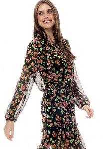 Vestido Forrado Curto BABADOS Manga Longa CREPE Estampado Floral Fundo Preto