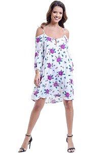 Vestido Saída Ciganinha Viscose Estampado Floral Off