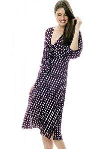 Vestido Midi Viscose com Nó no Decote e Mangas Bufantes Estampada Vinho