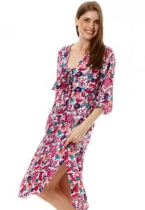 Vestido Midi Viscose com Nó no Decote e Mangas Bufantes Estampada Flor Rosa