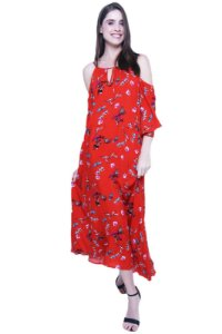 Vestido Longo Alças Ombros Vazados Viscose Estampado Borboletas Fundo Vermelho