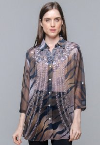 Chemise Crepe Fino Estampa Animal Print Marrom