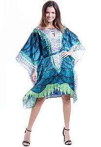 Kaftan Vestido Crepe Festa  Estampado Verde