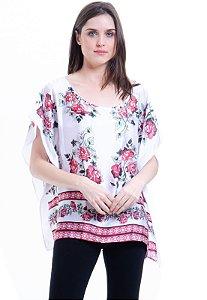 Blusa Poncho Cetim Estampado Floral Branca e Vermelha