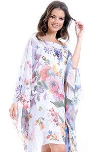 Kaftan Vestido Crepe Estampado Floral Tapecaria Fundo Branco