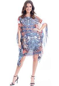 Kaftan Vestido  Crepe Estampado Joias Azul Laranja
