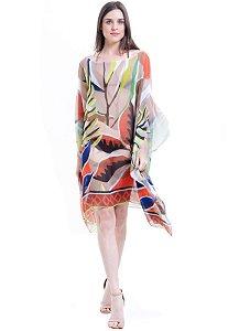Kaftan Vestido Plus Size Crepe Estampado Folhas Marrom