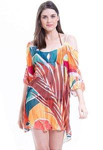 Vestido Saída Ciganinha Estampado Folhas Geométricas Laranja