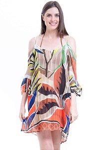 Vestido Saída Ciganinha Estampado Folhas Coloridas