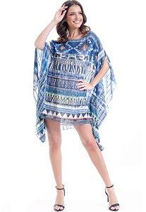 Kaftan Vestido Crepe Plus Size Estampado Animal Print