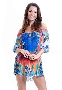 Vestido Saída de Praia Estampada Ombro a Ombro Tie Dye-