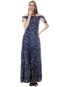 Vestido Longo Cigana Ombro a Ombro Saia Babados Viscose Estampada Floral Azul Fundo Marinho