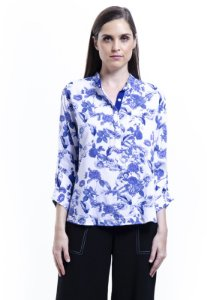 Camisa 101 Resort Wear Polo Viscose Estampada Floral Azul