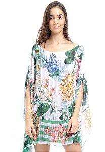 Kaftan Vestido Crepe Ombro a Ombro Estampado  Floral Verde