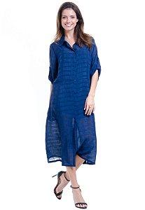 Vestido Chemise Midi Evase Crepe Liso Azul Marinho