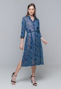 Vestido Chemise Midi Evase Crepe Estampado Floral Azul