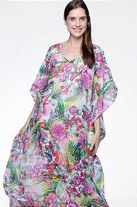 Vestido Kaftan Longo Crepe Floral