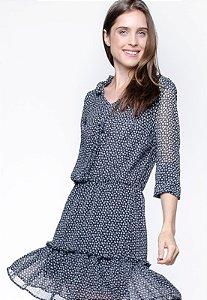 Vestido 101 Resort Wear Forrado Curto BABADOS Manga Longa CREPE Estampado Grav F Preto
