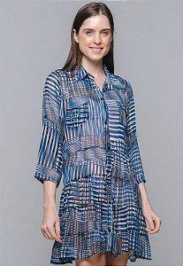 Vestido Chemise Evasê Estampado Geometrico Az