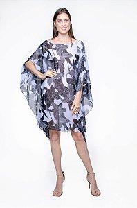 Kaftan Vestido Crepe Estampado Animal Print Laranja