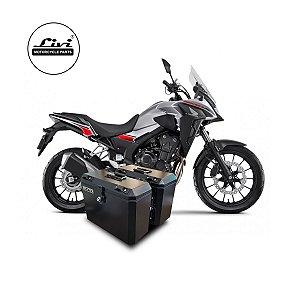 Baús laterais Honda CB 500X 2020 com suportes laterais.
