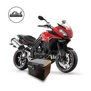 Baú Central Top Case 43 Litros Livi Exclusivo Para Moto Triumph Tiger Sport 1050 com bagageiro.