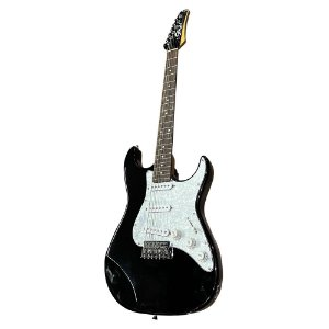 Guitarra Seizi Vision Rw Strato Black Escudo Branco Perolado