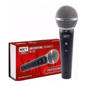 Microfone Dinamico Profissional Mxt M58 Corpo Metal Cabo3M