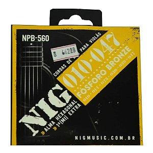 Encordoamento Nig para Violao Aço 010 Fosforo Bronze NPB-560